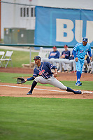 Ernesto Martinez (46) of the Rocky Mountain Vibes on defense against the Ogden Raptors at Lindquist Field on July 4, 2019 in Ogden, Utah. The Raptors defeated the Vibes 4-2. (Stephen Smith/Four Seam Images)