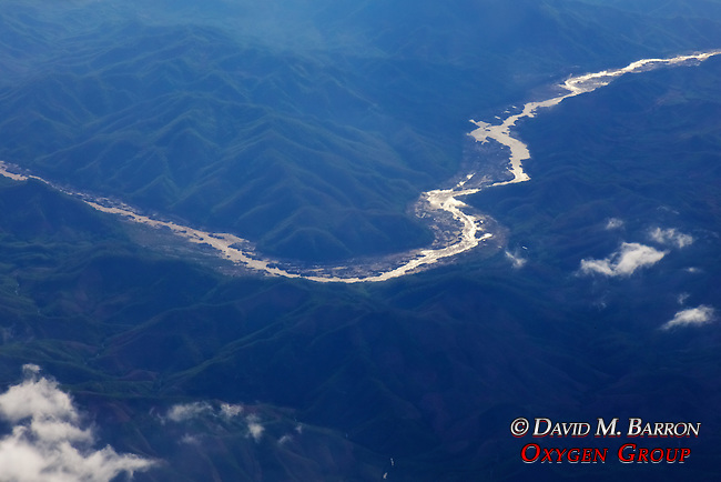 View From Airplane of River and Mountains