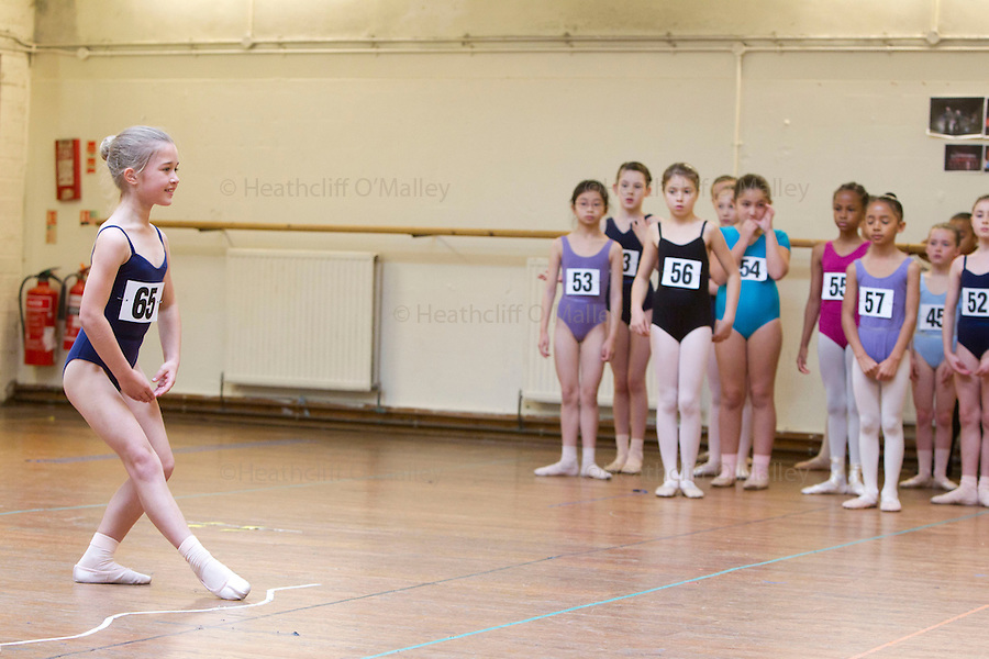"Mcc0035274 . Daily Telegraph..Audition's for the London Children's Ballet in Fulham today and a chance for a role in a production of ""The Little Princess"" at the Peacock Theatre in April 2012..In the nine year olds age group pictured here there were 100 auditionees for a mere 7 places...London 30 October 2011."