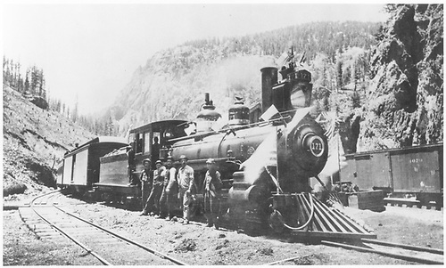 Engine #171 with passenger train &amp; crew at Upper Creede decorated for Fourth of July (probably).<br /> D&amp;RG  Creede, CO