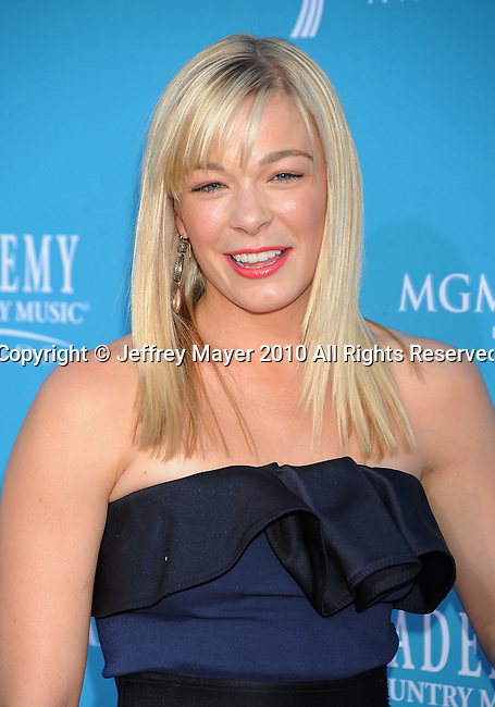 LAS VEGAS, Nevada - April 18: Singer LeAnn Rimes arrives for the 45th Annual Academy of Country Music Awards at the MGM Grand Garden Arena on April 18, 2010 in Las Vegas, Nevada.
