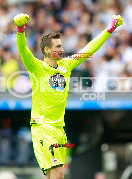 Deportivo de la Coruna's Przemyslaw Tyton celebrates goal during La Liga match. September 10,2017. (ALTERPHOTOS/Acero) /NortePhoto.com