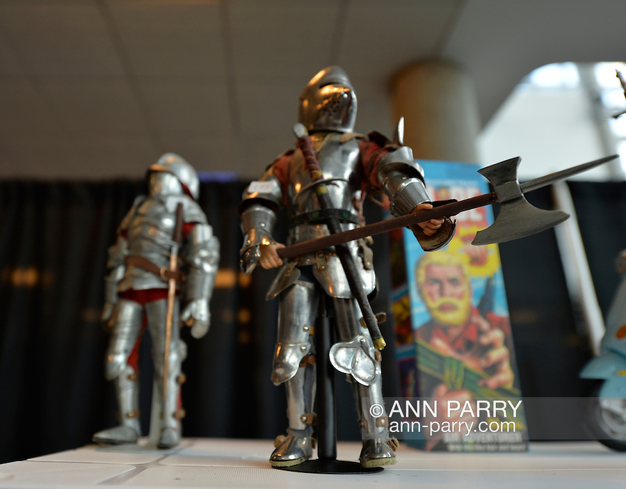 Garden City, New York. 15th June 2013. GI Joe action figures dressed in armour are some of the collectibles for sale at the Eternal Con Pop Culture Expo, which is hosted by the Cradle of Aviation Museum of Long Island.