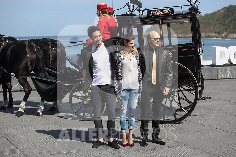 Dani Matinez, Clara Lago and Santiago Segura pose during `Hotel Transilvania´ film presentation at 63rd Donostia Zinemaldia (San Sebastian International Film Festival) in San Sebastian, Spain. September 25, 2015. (ALTERPHOTOS/Victor Blanco)