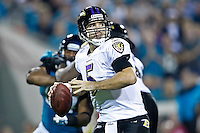 October 24, 2011:   Baltimore Ravens quarterback Joe Flacco (5) drops back to pass during second half action between the Jacksonville Jaguars and the Baltimore Ravens played at EverBank Field in Jacksonville, Florida.  Jacksonville defeated Baltimore 12-7.........