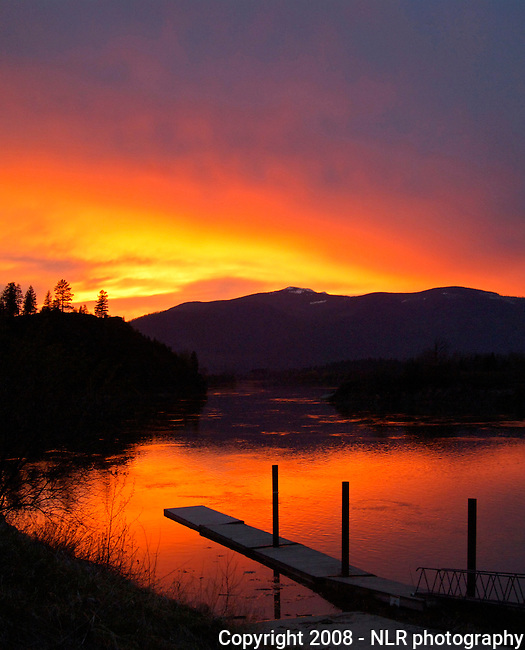 Sunset on the Kootenai River with the Selkirk mountains in the background