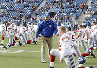 27 Nov 2005:    New York Giants head coach Tom Coughlin wishes his players good luck as they warmed up before the start of the game against the Seattle Seahawks at Qwest Field in Seattle, Washington.