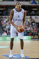 GB's Kieron Achara during the EuroBasket 2015 2nd Qualifying Round Great Britain v Bosnia & Herzegovina (Euro Basket 2nd Qualifying Round) at Copper Box Arena in London. - 13/08/2014