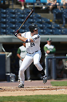 West Michigan Michigan Whitecaps first baseman Blaise Salter (24) at bat against the Fort Wayne TinCaps during the Midwest League baseball game on April 26, 2017 at Fifth Third Ballpark in Comstock Park, Michigan. West Michigan defeated Fort Wayne 8-2. (Andrew Woolley/Four Seam Images)