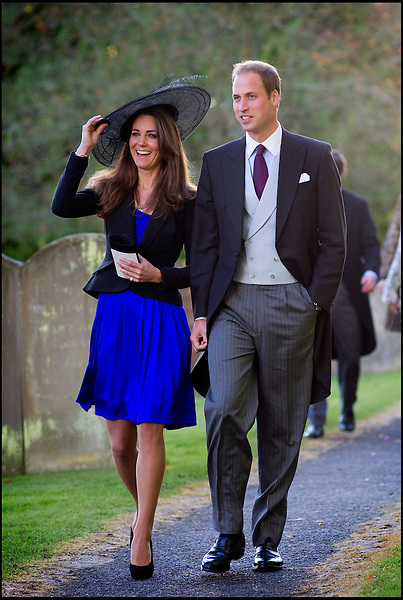 Prince William and Kate Middleton attending Harry Meade & Rosie Bradford's wedding at the Church of St. Peter and St. Paul, Northleach, on October 23, 2010 in Cheltenham, England...Tel: 07515 876520.e mail: info@kisforkate.com