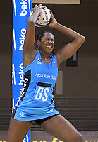 Jhaniele Fowler-Reid lands awkwardly during the ANZ Premiership netball match between the Central Pulse and Northern Stars at Te Rauparaha Arena in Wellington, New Zealand on Wednesday, 24 May 2017. Photo: Dave Lintott / lintottphoto.co.nz