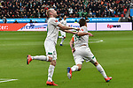 17.03.2019, BayArena, Leverkusen, GER, DFL, 1. BL, Bayer 04 Leverkusen vs SV Werder Bremen, DFL regulations prohibit any use of photographs as image sequences and/or quasi-video<br /> <br /> im Bild Max Kruse (#10, SV Werder Bremen) jubelt nach seinem Tor zum 0:1 mit Davy Klaassen (#30, SV Werder Bremen)<br /> <br /> Foto © nph/Mauelshagen
