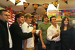 Frank Dicopoulos - Daniel Cosgrove - Lawrence Saint-Victor - Zack Conroy - Kurt McKinney & owners Stacy Jo Patos and hubby of Stacy Jo's Ice Cream in McKees Rocks, PA on September 30, 2009. During the weekend of events proceeds from pink ribbon bagel sales at various Panera Bread locations will benefit the Young Women's Breast Cancer Awareness Foundation. (Photo by Sue Coflin/Max Photos)