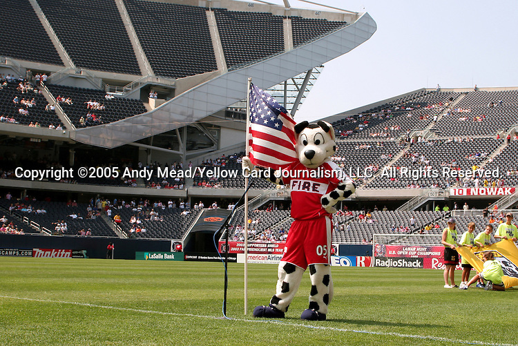 16 July 2005: Chicago Fire mascot Sparky. The Chicago Fire and Columbus Crew tied 1-1 at Soldier Field in Chicago, Illinois in a regular season Major League Soccer game.