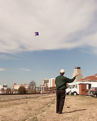 February 14, 2013. Durham, North Carolina. Jose Follasco can be found flying his kite on windy days.