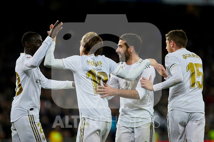 (L-R) Ferland Mendy, Luka Modric, Dani Carvajal nd Fede Valverde of Real Madrid celebrate goal during La Liga match between Real Madrid and Real Sociedad at Santiago Bernabeu Stadium in Madrid, Spain. November 23, 2019. (ALTERPHOTOS/A. Perez Meca)