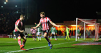 Lincoln City's Mark O'Hara, right, celebrates scoring the opening goal with team-mate Harry Anderson<br /> <br /> Photographer Chris Vaughan/CameraSport<br /> <br /> The EFL Sky Bet League Two - Lincoln City v Yeovil Town - Friday 8th March 2019 - Sincil Bank - Lincoln<br /> <br /> World Copyright © 2019 CameraSport. All rights reserved. 43 Linden Ave. Countesthorpe. Leicester. England. LE8 5PG - Tel: +44 (0) 116 277 4147 - admin@camerasport.com - www.camerasport.com