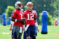 June 13, 2017: New England Patriots quarterback Jacoby Brissett (7) and quarterback Tom Brady (12) take part at the New England Patriots organized team activity held on the practice field at Gillette Stadium, in Foxborough, Massachusetts. Eric Canha/CSM