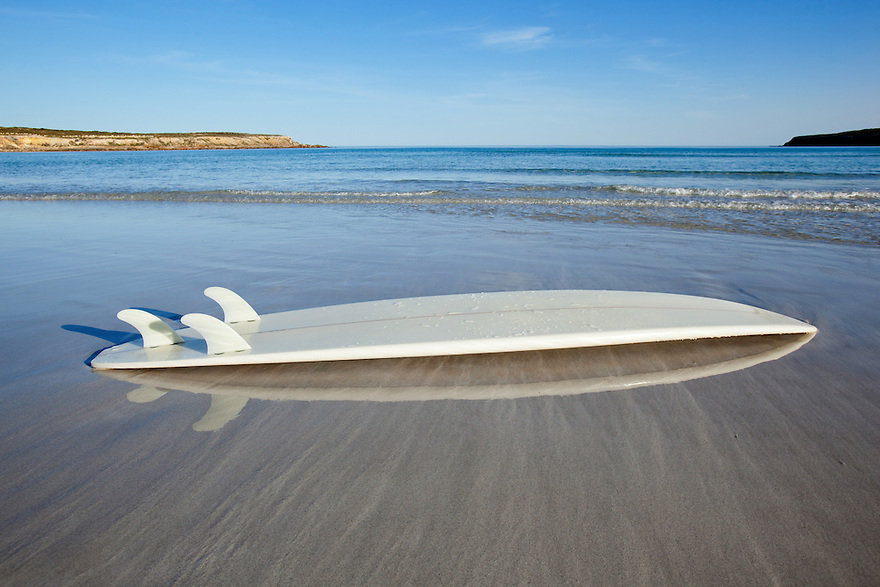 Surf boards at beach. Eyre Peninsula. South Australia.