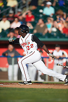 Lansing Lugnuts outfielder Anthony Alford (22) at bat during a game against the Peoria Chiefs on June 6, 2015 at Cooley Law School Stadium in Lansing, Michigan.  Lansing defeated Peoria 6-2.  (Mike Janes/Four Seam Images)