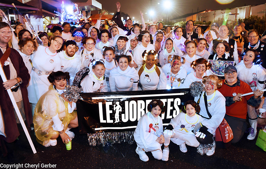 The Leijorettes, a marching group in the Krewe of Chewbacchus honoring Princess Leia Organa of Alderaan, 2018