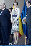 Queen Letizia of Spain (l) with the Spain's Interior Minister Jorge Fernandez Diaz (l) and the President of Castilla y Leon Juan Vicente Herrera (r) attend the delivery ceremony of the Spanish flag to Spanish Police on November 10, 2015 in Avila, Spain.(ALTERPHOTOS/Acero)