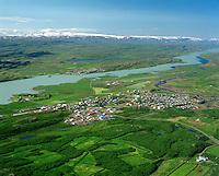 Egilsstaðir séð til norðurs Lagarfljót og  Fellabær 1995.Egilsstadir in foreground, river Lagarfljot and the village Fellabaer in background.