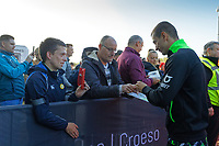 Bersant Celina of Swansea City signs autographs as arrives prior to the game during the Sky Bet Championship match between Swansea City and Cardiff City at the Liberty Stadium, Swansea, Wales, UK. Sunday 27 October 2019