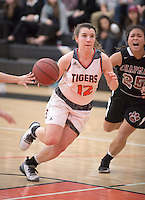 #12 Triana Anderson. The Occidental College women's basketball team take on Chapman University in Rush Gym, Jan. 12, 2016.<br /> (Photo by Marc Campos, Occidental College Photographer)