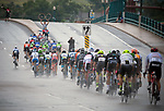 August 10, 2017 - Colorado Springs, Colorado, U.S. -  The peleton heads into very heavy rain and difficult conditions in the opening stage of the inaugural Colorado Classic cycling race, Colorado Springs, Colorado.