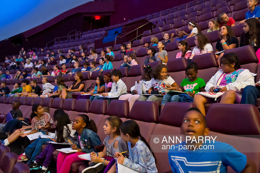 """Oct 4, 2012 - GARDEN CITY, NEW YORK U.S. - At new JetBlue Sky Theater Planetarium at Cradle of Aviation Museum, Nassau County students watch """"We Are Astronomers"""" a digital planetarium show. The planetarium, a state-of-the-art digital projection system, officially opens this weekend."""