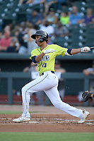 Third baseman Mark Vientos (13) of the Columbia Fireflies bats in a game against the Augusta GreenJackets on Thursday, July 11, 2019 at Segra Park in Columbia, South Carolina. Columbia won, 5-2. (Tom Priddy/Four Seam Images)