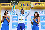 Fernando Gaviria (COL) Quick-Step Floors wins Stage 1 and takes the first young riders White Jersey of the 2018 Tour de France running 201km from Noirmoutier-en-l&rsquo;&Icirc;le to Fontenay-le-Comte, France. 7th July 2018. <br /> Picture: ASO/Pauline Ballet | Cyclefile<br /> All photos usage must carry mandatory copyright credit (&copy; Cyclefile | ASO/Pauline Ballet)