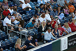 A fan gets hit by a foul ball during the Sacramento River Cats at Reno Aces game, in Reno, Nev., on Thursday, July 4, 2019.<br /> Photo by Cathleen Allison/Nevada Momentum