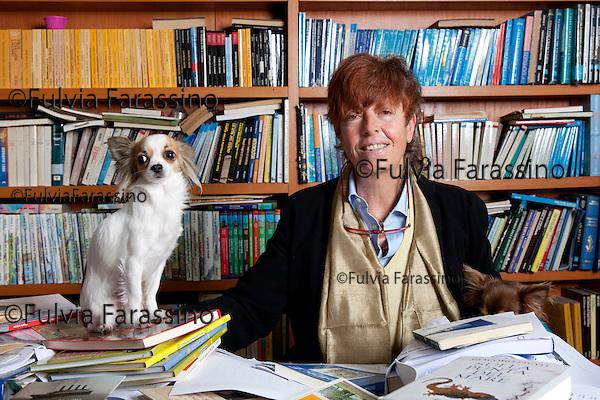 Milano, 18 aprile 2012,Casa editrice Mursia Fiorenza Mursia nel suo studio