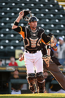 Bradenton Marauders catcher Chris Stewart (38), on rehab assignment from the Pittsburgh Pirates, in the field during a game against the Palm Beach Cardinals on April 9, 2014 at McKechnie Field in Bradenton, Florida.  Palm Beach defeated Bradenton 3-1.  (Mike Janes/Four Seam Images)