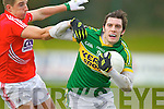 David Moran Kerry in action against Aidan Walsh Cork in the McGrath cup final at Mallow on Sunday.