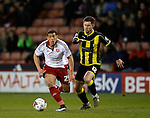 Che Adams of Sheffield Utd tussles with Calum Butcher of Burton Albion - English League One - Sheffield Utd vs Burton Albion - Bramall Lane Stadium - Sheffield - England - 1st March 2016 - Pic Simon Bellis/Sportimage