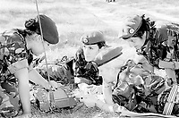 BNPS.co.uk (01202 558833)<br /> Pic: Pen&Sword/BNPS<br /> <br /> PICTURED: Three members of F.A.N.Y. on exercise with Instructor from 70 (Essex Yeomanry) Squadron, 71 Signal Regiment: France 2002.<br /> <br /> These inspiring photos of nurses on the front line feature in a new book which charts a century's heroic wartime service.<br /> <br /> The First Aid Nursing Yeomanry (FANY) was founded in 1907 by Captain Edward Baker with the early recruits trained in cavalry, signalling and camping.<br /> <br /> They were despatched to France at the outset for World War One to tend to injured troops on the battlefield, setting up hospitals for the many casualties. Other heroines dragged wounded personnel from exploding ammunition dumps.<br /> <br /> The brave nurses were again in the centre of the action in World War Two, performing sterling work in the harshest of conditions.<br /> <br /> Their stories feature in The First Aid Nursing Yeomanry in War and Peace, by Hugh Popham.