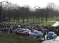 Cars gathered at the Start of the Rallye Monte Carlo Historique 2013 which started at the People's Palace, Glasgow on 26.1.13.