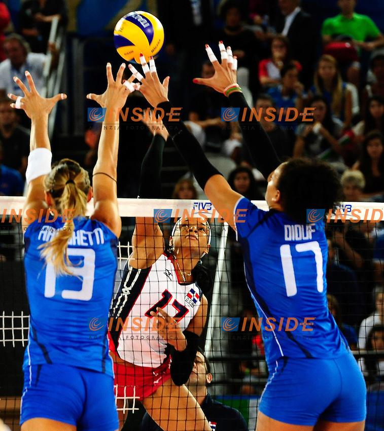 Italia vs Rep. Dominicana<br /> 17 Gina Altagracia Mambru Casilla DOM<br /> 13 Valentina Arrighetti ITA<br /> 17 Valentina Diouf ITA<br /> FIVB Volleyball Women's World Championship Italy 2014 <br /> Rome 25-09-2014 Palaeur Foto F.Pasquali/Insidefoto