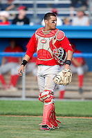 August 2, 2009:  Catcher Sebastian Valle of the Williamsport Crosscutters during a game at Dwyer Stadium in Batavia, NY.  Williamsport is the Short-Season Class-A affiliate of the Philadelphia Phillies.  Photo By Mike Janes/Four Seam Images