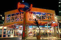restaurant, Inner Harbor, Baltimore, MD, Maryland, Planet Hollywood illuminated at night in Baltimore's Inner Harbor.