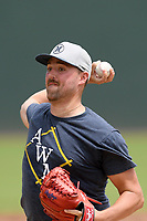 Boston Red Sox pitcher Heath Hembree throws game simulation live batting practice with Major League and Minor League players from around the region on Friday, June 5, 2020, at Fluor Field at the West End in Greenville, South Carolina. Hembree has spent seven seasons in the majors, mostly with Boston. He has played with Broome High, Spartanburg Methodist and College of Charleston. (Tom Priddy/Four Seam Images)