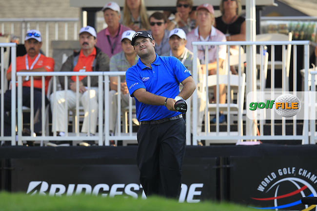Patrick REED (USA) tees off the 1st tee to start his match during Saturday's Round 3 of the WGC Bridgestone Invitational, held at the Firestone Country Club, Akron, Ohio.: Picture Eoin Clarke, www.golffile.ie: 2nd August 2014