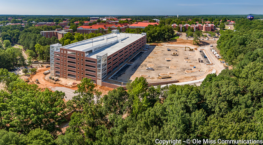 Construction is well underway on Ole Miss' second campus parking garage behind Kincannon residence hall. Photo by Robert Jordan/Ole Miss Communications
