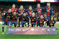 FC Barcelona's team photo with Jose Manuel Pinto, Pedro Rodriguez, Jordi Alba, Sergio Busquets, Gerard Pique, Leo Messi, Daniel Alves, Cesc Fabregas, Andres Iniesta, Xavi Hernandez and Carles Puyol during Copa del Rey - King's Cup semifinal second match.February 26,2013. (ALTERPHOTOS/Acero) /NortePhoto