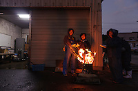 Workers warms themselves at a fire, harvesting wakame at dawn, Awata fishing port, Naruto, Tokushima Prefecture, Japan, February 4, 2012.