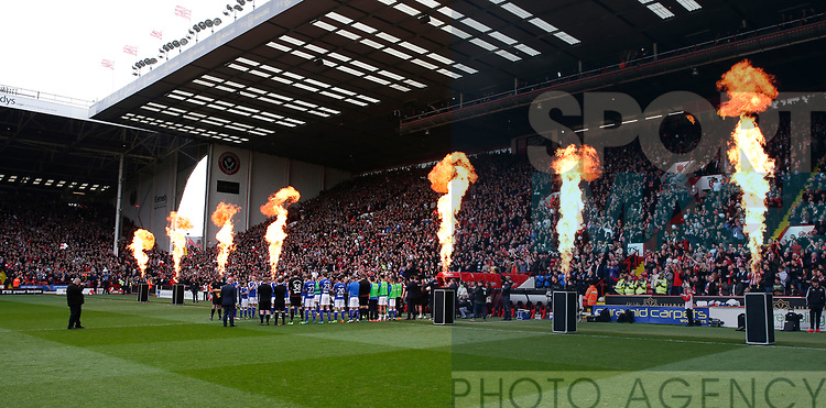 Sheffield Utd are given an guard of honour and walk out to a flame fan fair during the English League One match at  Bramall Lane Stadium, Sheffield. Picture date: April 30th 2017. Pic credit should read: Simon Bellis/Sportimage
