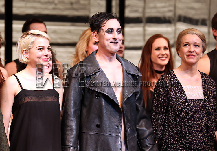 Michelle Williams, Alan Cumming and Linda Emond during the Broadway Opening Night Performance Curtain Call for 'Cabaret' at Studio 54 on April 24, 2014 in New York City.